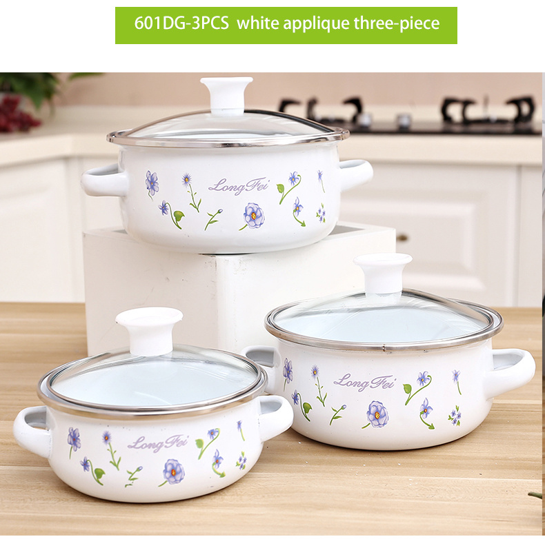 Hot Item 3pcs Hot Design Reoona Decal Enamel Kitchen Tools Cooking Pot Set