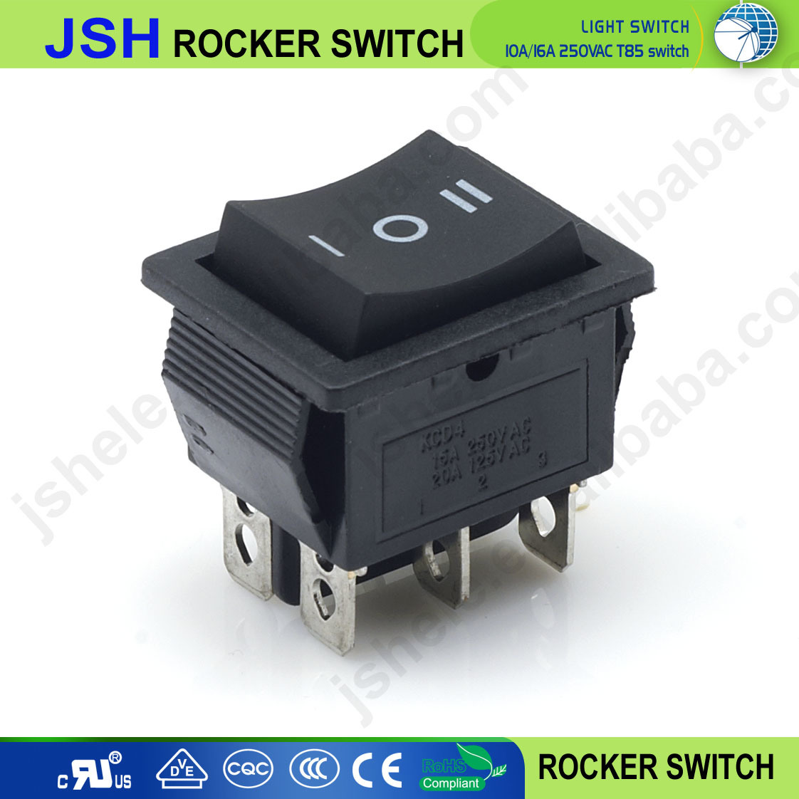 China High Quality Single Pole 3 Way Position Round Rocker Switch Wiring A