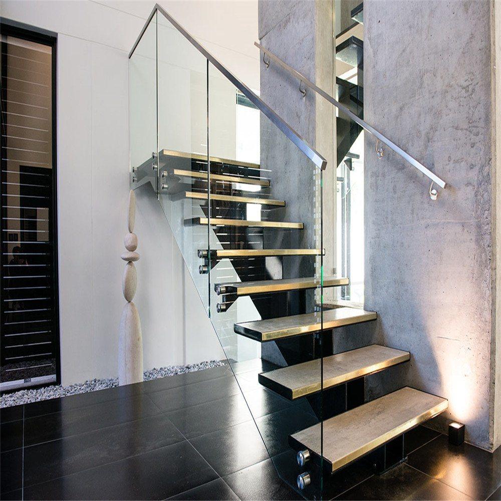 Hot Item Open Riser U Shape Glass Oak Wood Staircase Tread Frameless Glass Balustrade