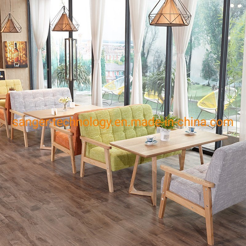 [Hot Item] High Fashion Love Seat Wooden Sofa, Western Restaurant Furniture  Sets, Cafe Shop Dining Chairs and Tables