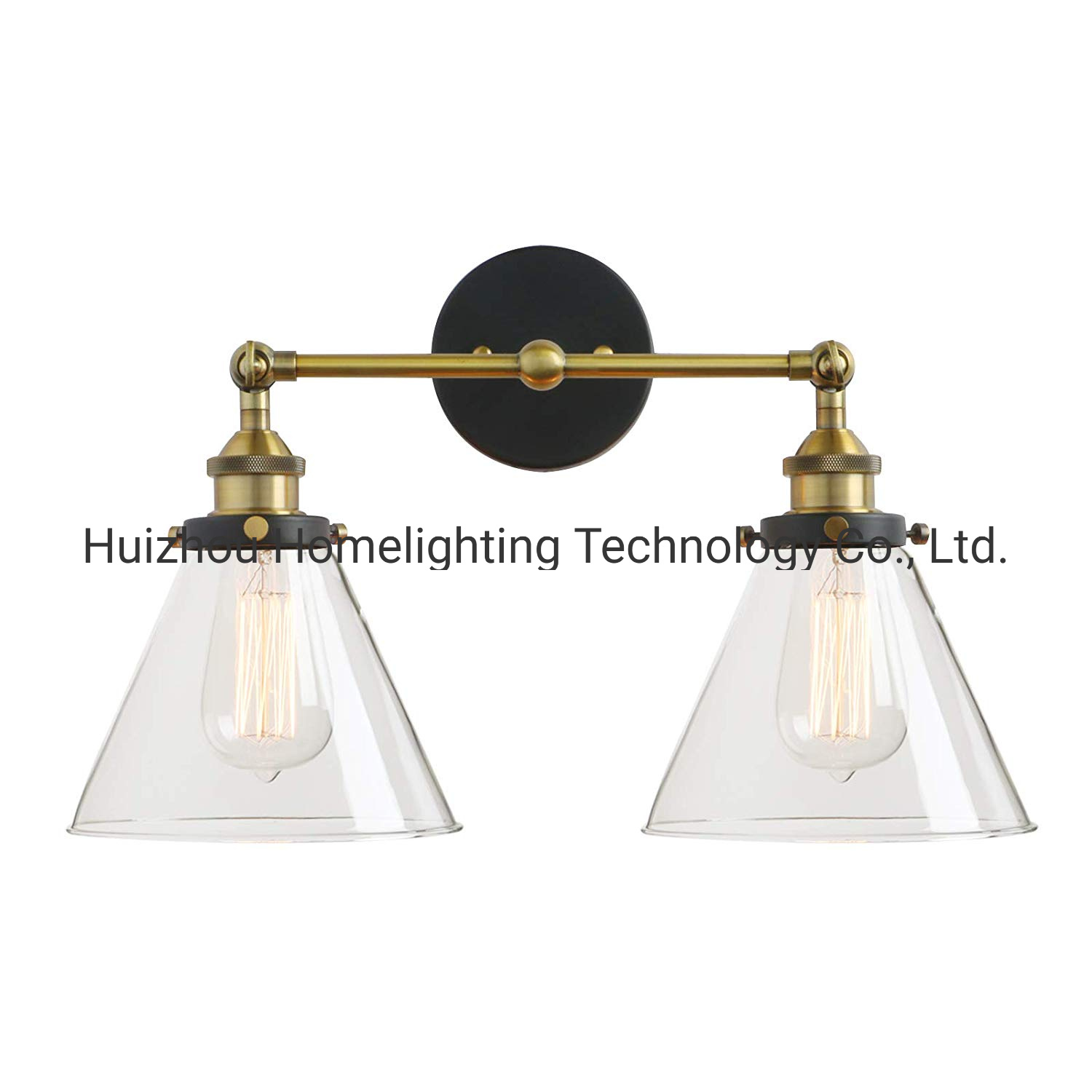 Image of: China Jlw G901 Double Sconce Vintage Industrial Antique 2 Lights Wall Sconces With Funnel Flared Glass Clear Glass Shade China Glass Wall Lamp Wall Lamps