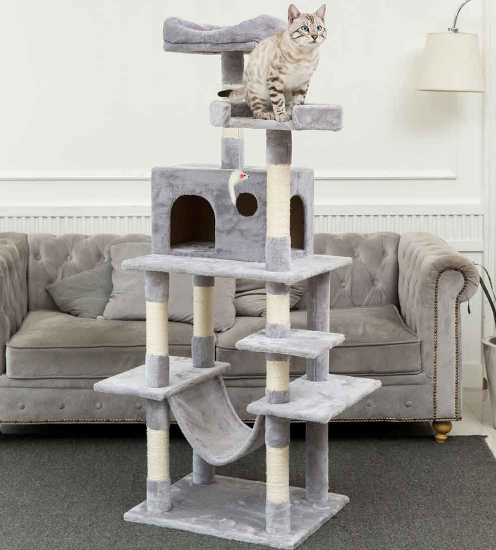 China 63 8 Multi Level Cat Tree With Sisal Covered Scratcher Slope Scratching Posts Plush Perches And Condo Activity Center Cat Tower Furniture China Cat Tree Price
