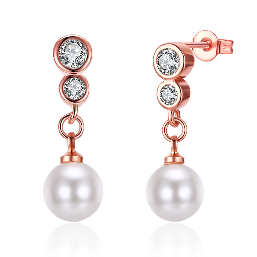 Rose Gold Plated Eardrop Zircon Imitation Pearl Earring pictures & photos