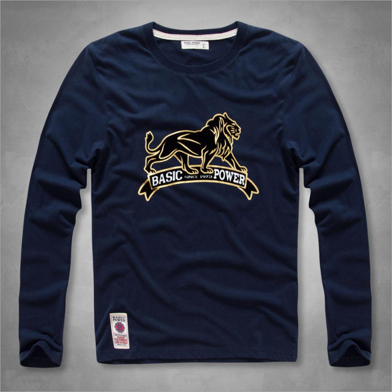 Men′s Long Sleeve Knit Cotton Base T Shirt with Lion Pattern pictures & photos