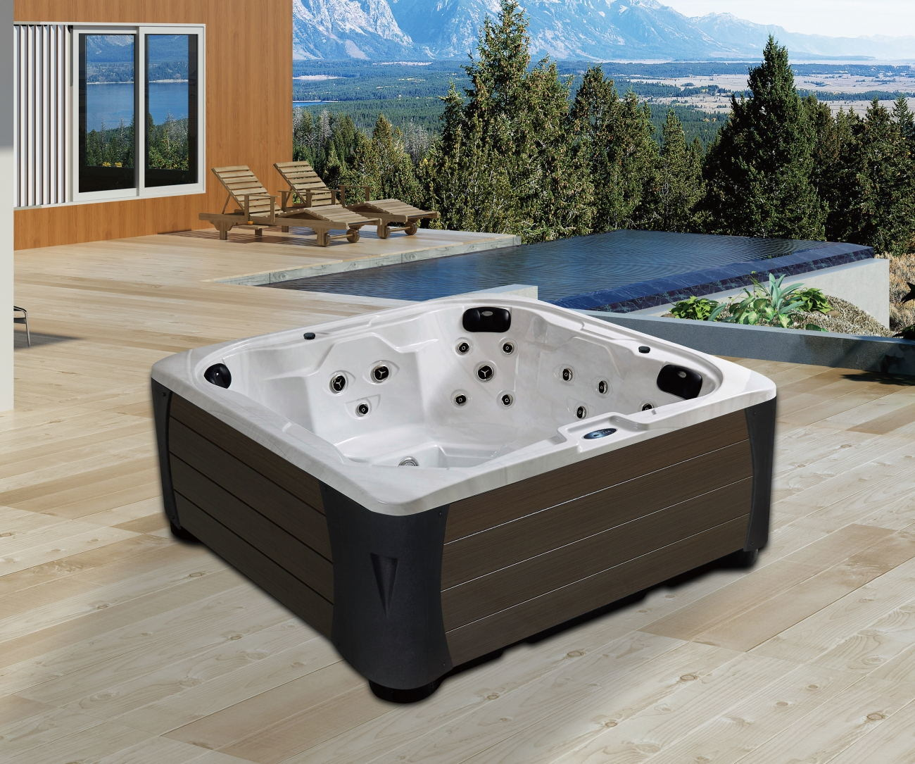 China Freestanding Square Shape Hydro Massage SPA Whirlpool Outdoor ...