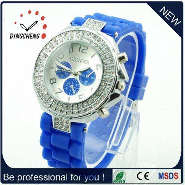 Hot Item Fashion Sports Geneva Gold Silver Diamond Quartz Watch Dc 1070
