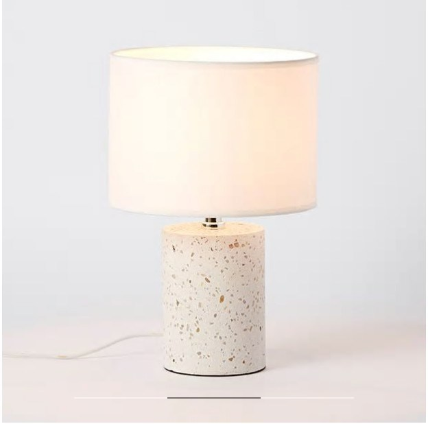 Hot Item Bedside Terrazzo Table Lamp With Switch Plug Cord And Linen Cotton Lampshade