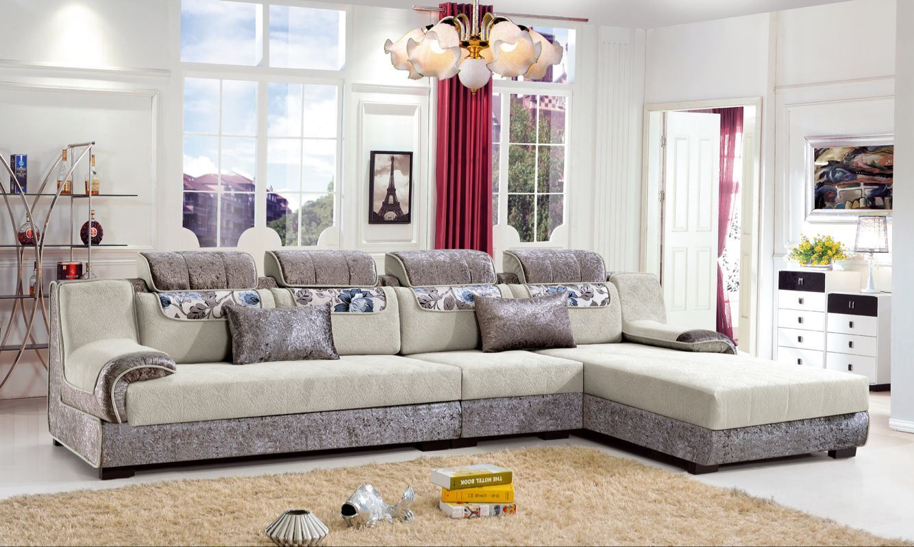 Hot Item Living Room Furniture L Shaped Sofa Fabric Corner With Chaise Lounge Hotel Bed Fec1194