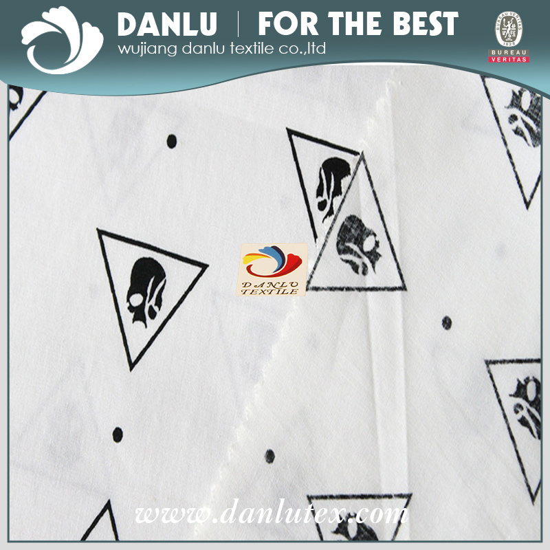 Elastic Poplin Fabric with Skeleton Printed for Shirt
