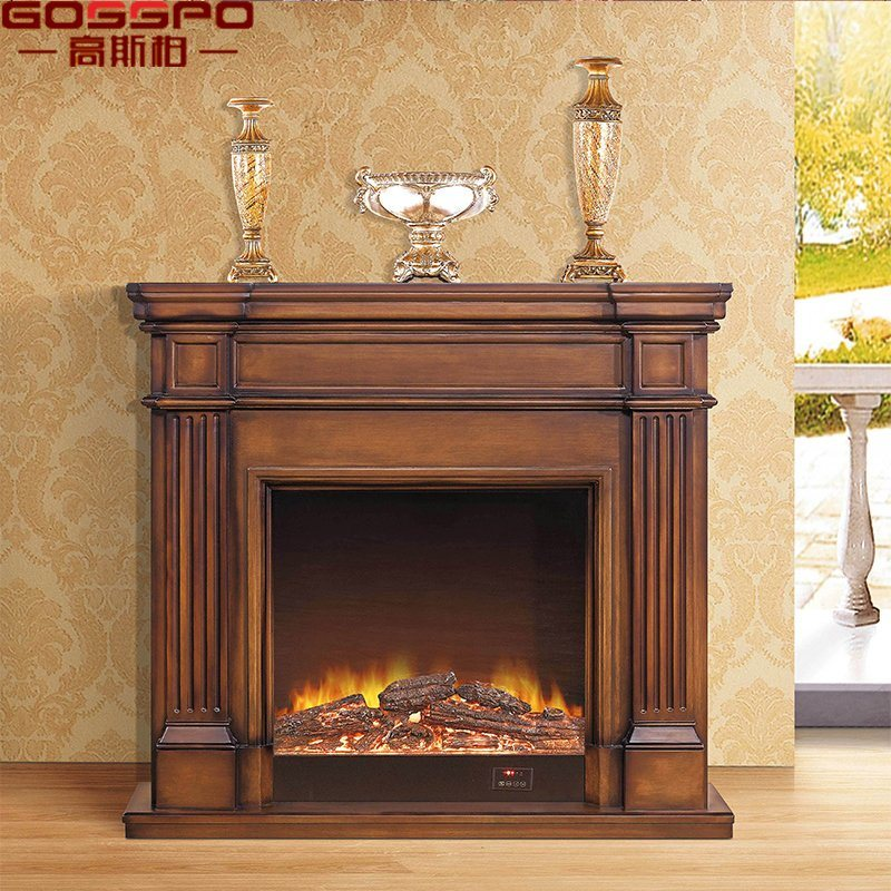 China European Style Antique Carved Solid Wood Fireplace Mantel Gsp14 004