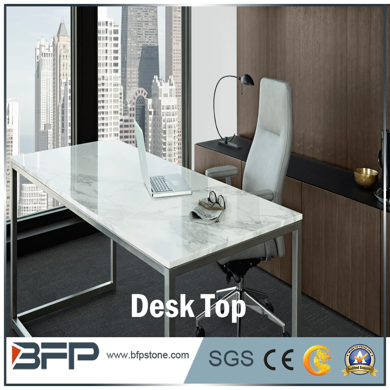 China Popular Style White Marble Office Dining Rectangular Desk Top China Countertop Marble Desk Top