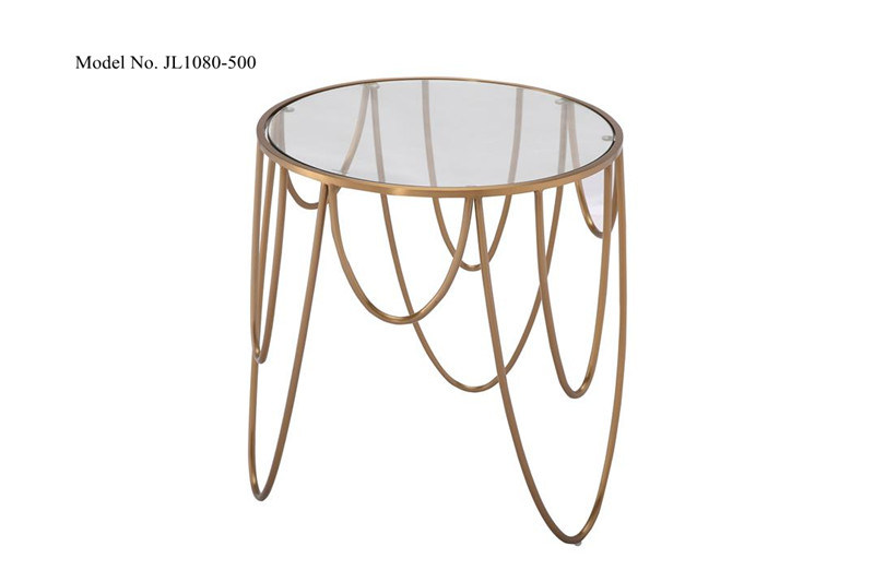 China Home Office Desk Workstation Marble Finish End Tables Stainless Steel Curved Frame Mirrored Coffee Tea Side Tables Sofa Tables For Small Space Snack Tables Bedr China Home Furniture Modern Furniture