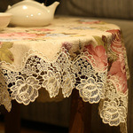 Lace Trim 10cm Width Stock China Rose Embroidery Water Soluable Polyester Lace for Bed Skirt & Doily & Table Cloths & Panels