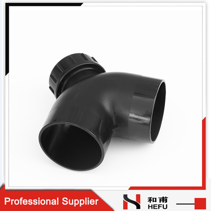Drainage Pipe Fitting Black Plastic HDPE Material 90 Degree Elbow with Inspection Mouth