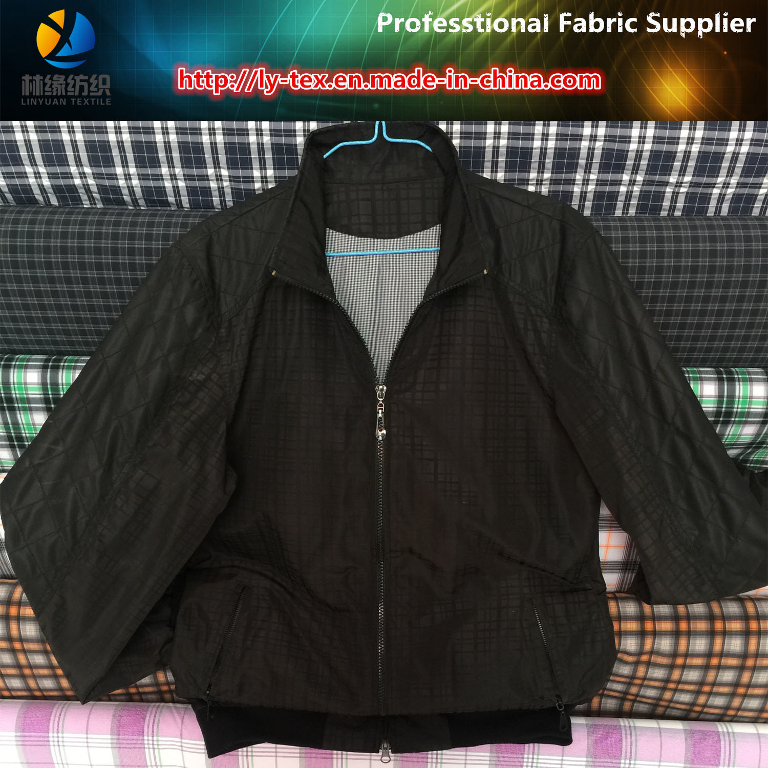 New Polyester Twill Check Printed PU Coated Fabric for Men Garment, Polyester Fabric Supplier pictures & photos