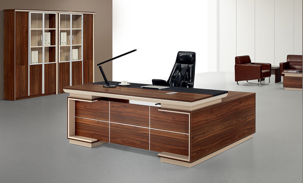 China Wood Office Furniture Mfc Modern Left Right Return Manager Desk 2 4m 2m 1 8m Table Executive