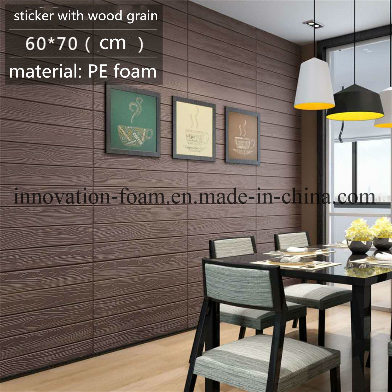 Hot Item 3d Wooden Self Adhesive Pe Foam Wallpaper Sticker