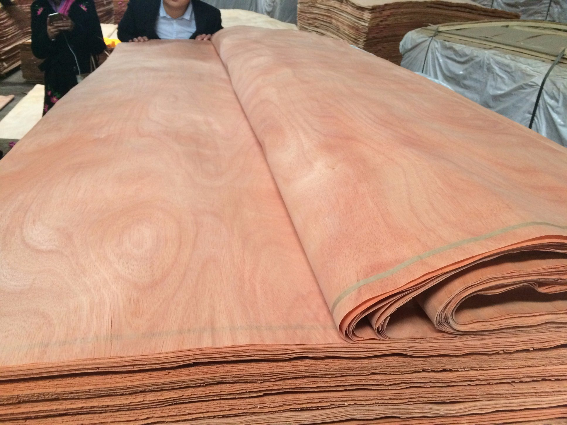 China Cheap Reconstructed Straight Grain Red Oak Wood Veneer For
