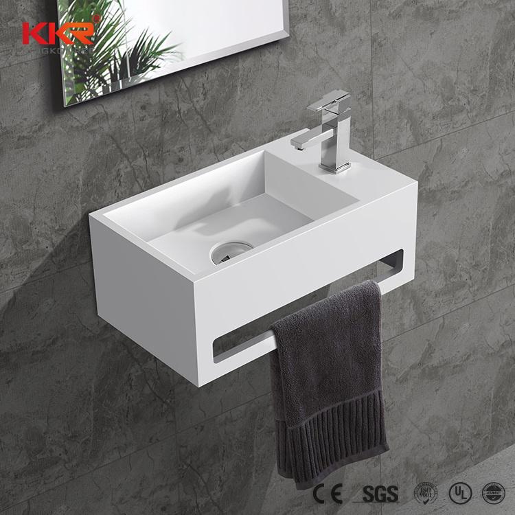 China Small Size White Matt Wall Hung Solid Surface Stone Sink Bathroom Vanity Wash Hand Basin China Basin Wash Basin