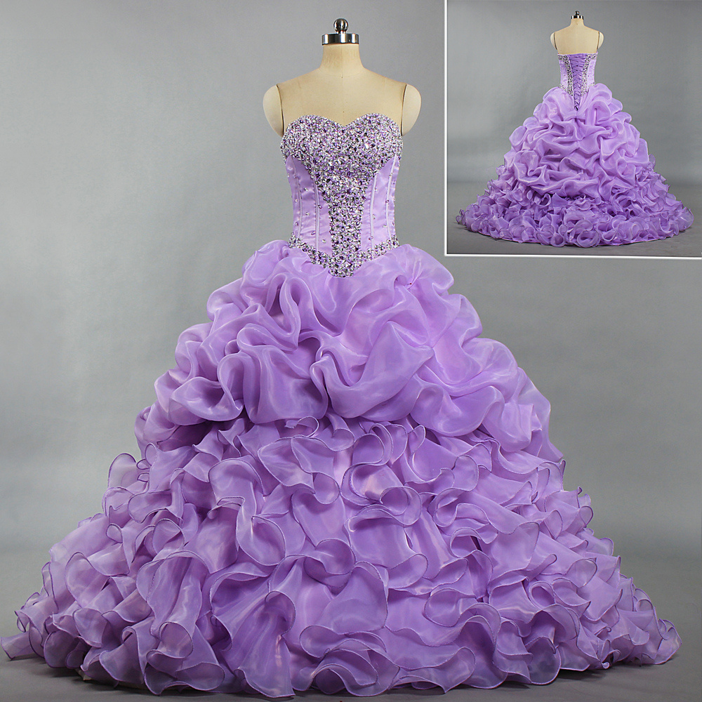 ee584dcce1e E497 Girls Strapless Bead Ruffle Organza Ball Gown Quinceanera Dresses  Purple