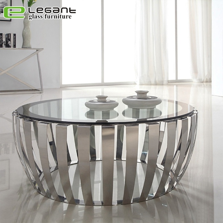 China Modern Round Clear Tempered Glass, Round Glass And Stainless Steel Coffee Table