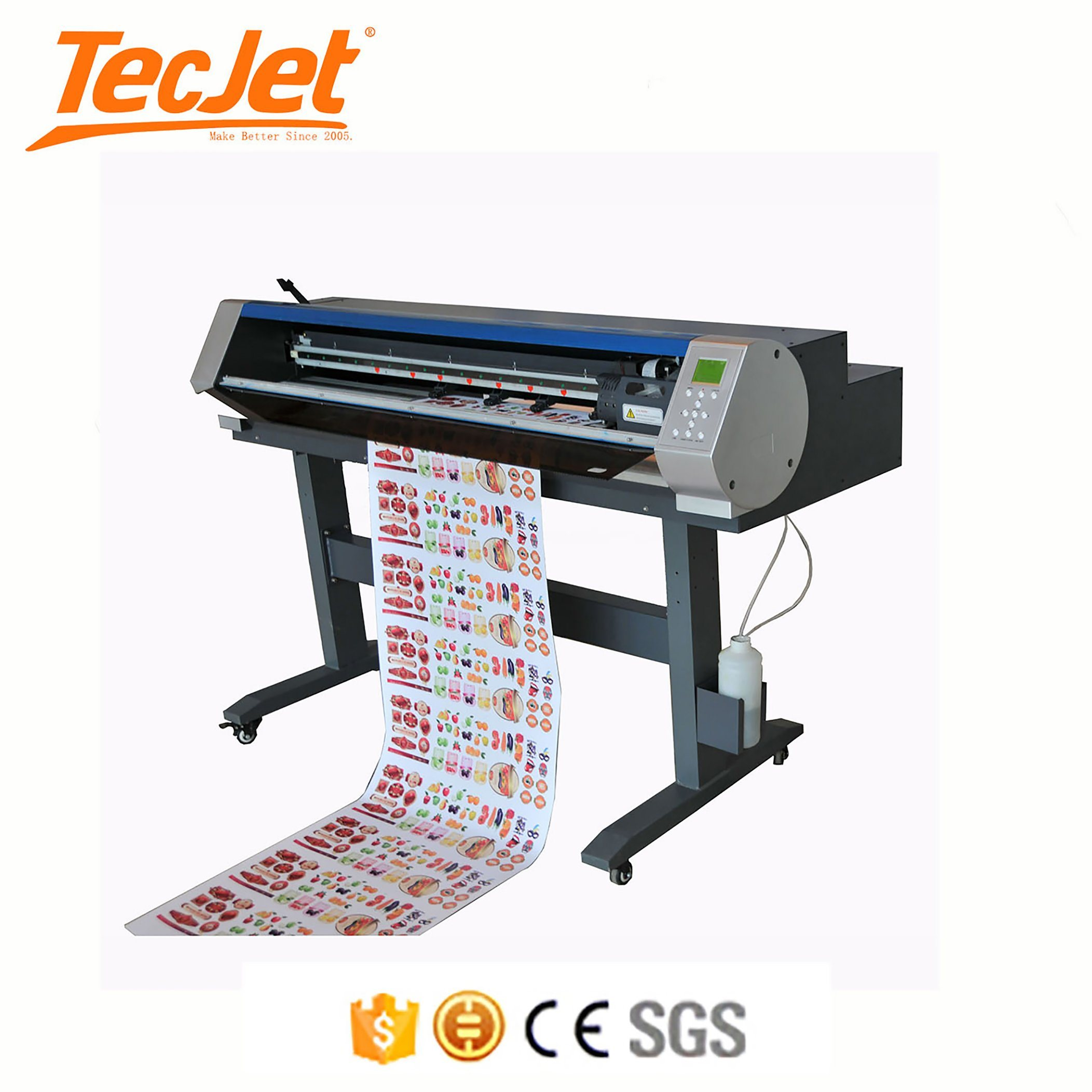 China tecjet digital printer and cutter for vinyl label stickers with dx5 printhead ce approved printing and cutting plotter china cutter printer