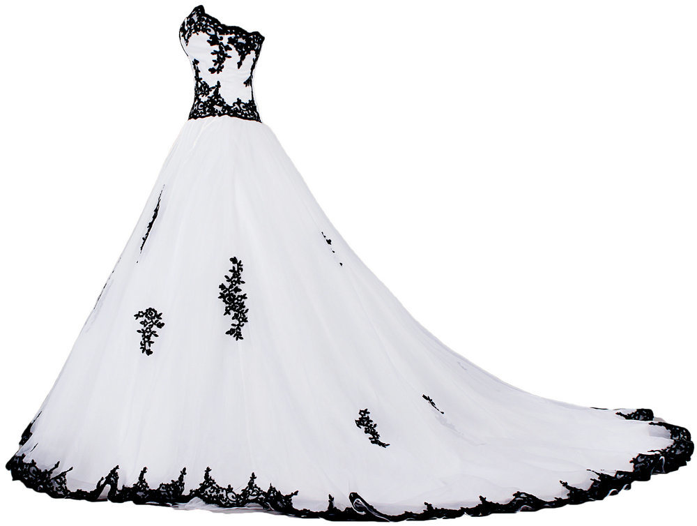 China Sweetheart A Line Lace Appliques White And Black