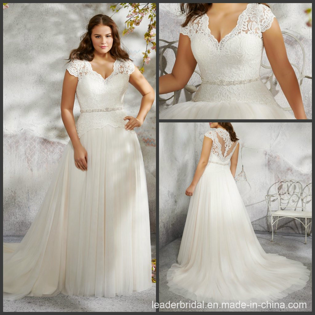 [Hot Item] Cap Sleeves Wedding Gown Lace Tulle Plus Size Bridal Dress P3242