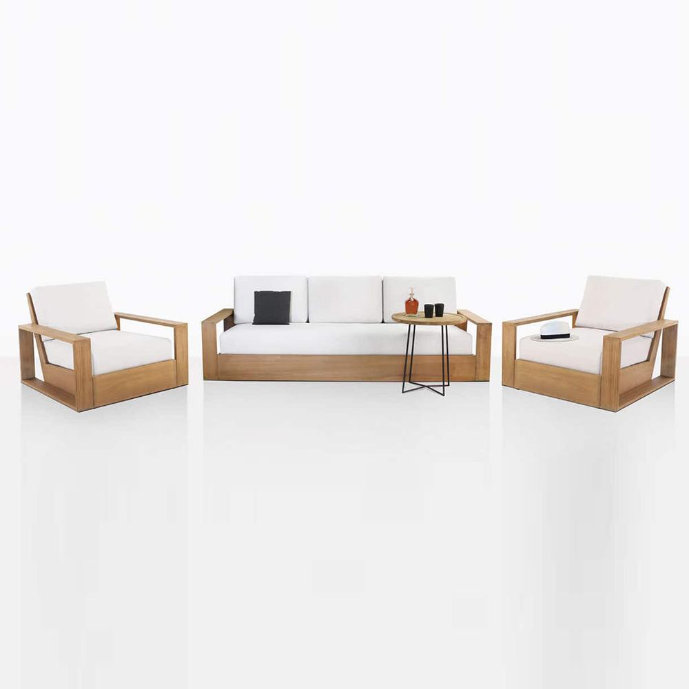 China Luxury Teak Classic Modern Set Armrest Living Room Pine Longue Ottoman Wood Furniture Sofa China Teak Furniture Outdoor Furniture