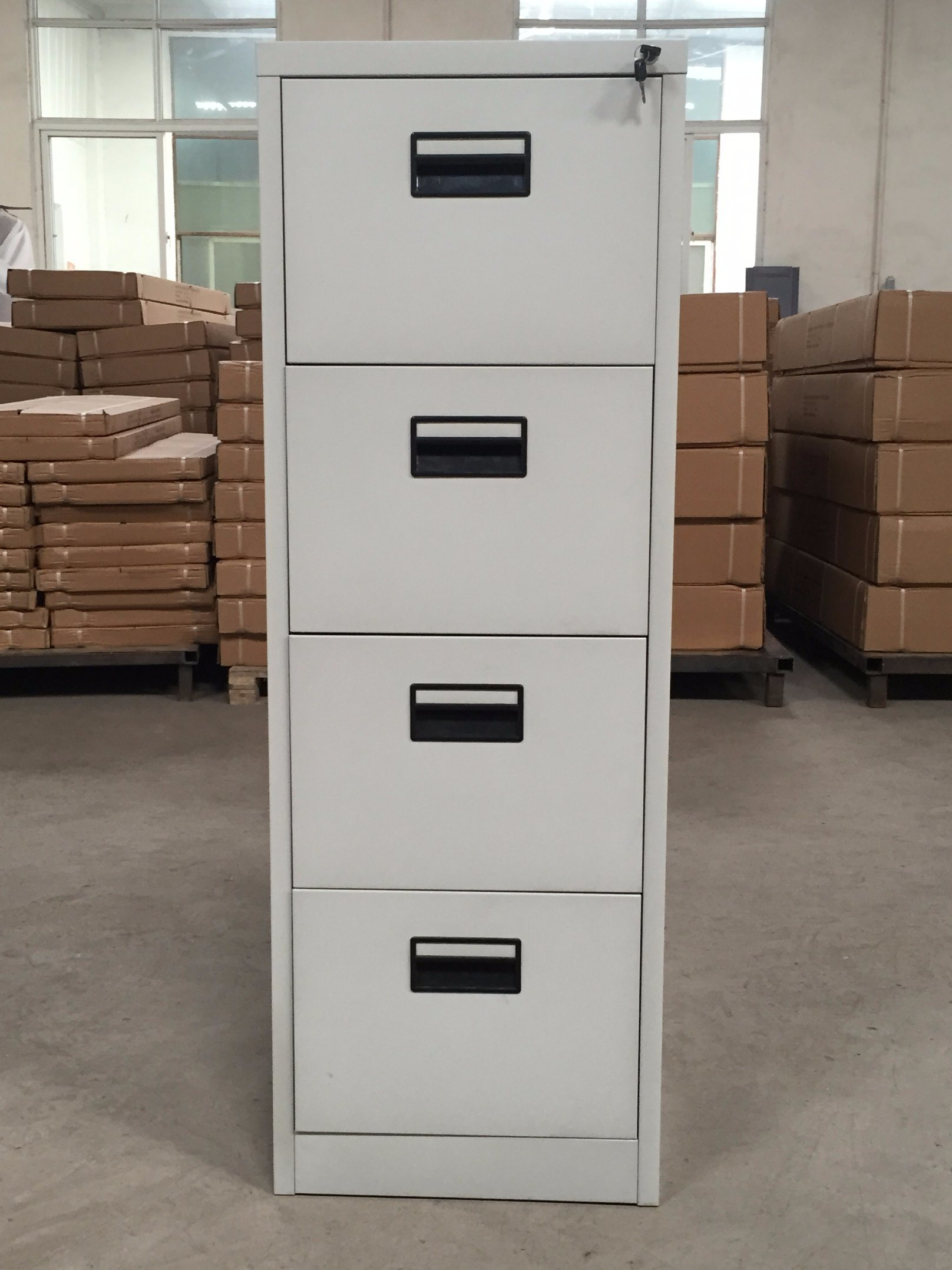 Grey Color 4 Drawer Vertical Filing Storage Cabinet Office Furniture