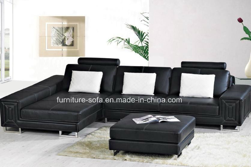 Leather Sofa With Ottoman S048