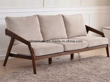 Sitting Room Cloth Art Sofa Modern Nordic Style Contracted High-Grade Solid Wood Office Business and Leisure Sofa (M-X3283)