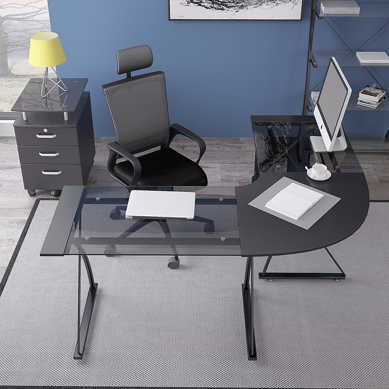 Modern Home Office Furniture Glass Corner Computer Desk