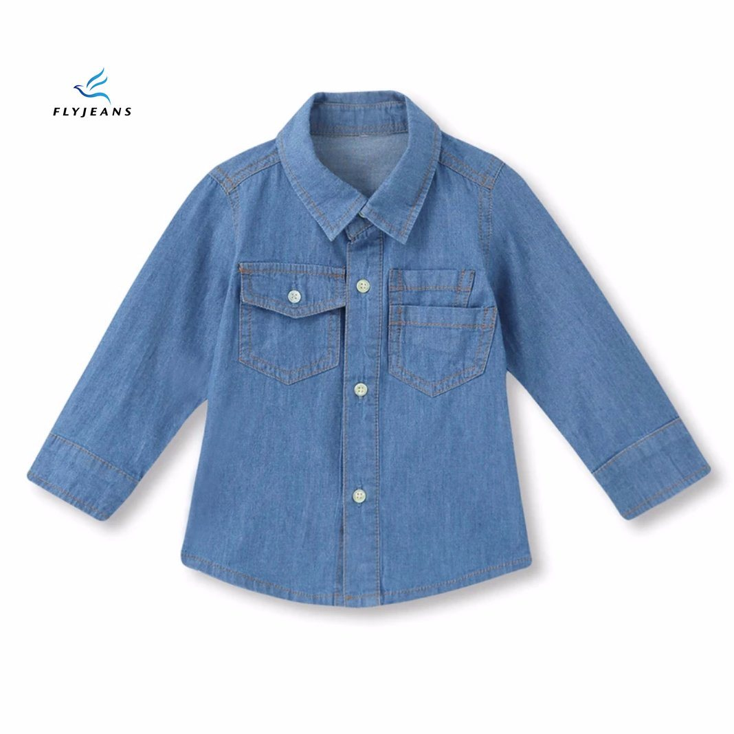 25a61352106 China New Style Simple Classic Boys′ Long Sleeve Denim Shirt by Fly Jeans - China  Boys Clothes