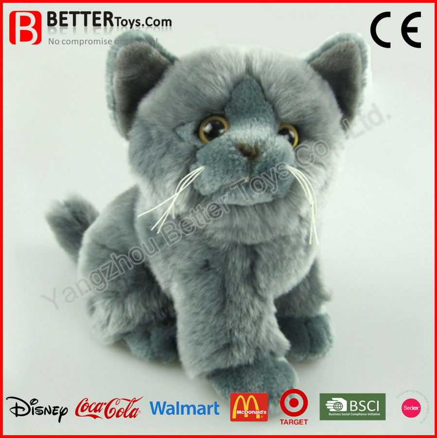 0bcb37467d5f China En71 Lifelike Plush Stuffed Animal Grey Cat Soft Toy for Kids ...