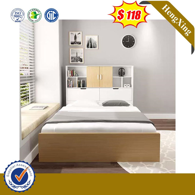 China Modern Wooden Bedroom Furniture Set Wardrobe Bookcase Wood Single Double King Queen Size Beds With Mattress China Home Furniture Bedroom Furniture