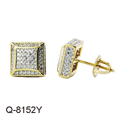 14K Gold Over Sterling Silver Cubic Zirconia Hip Hop Mens Single Stud Earring