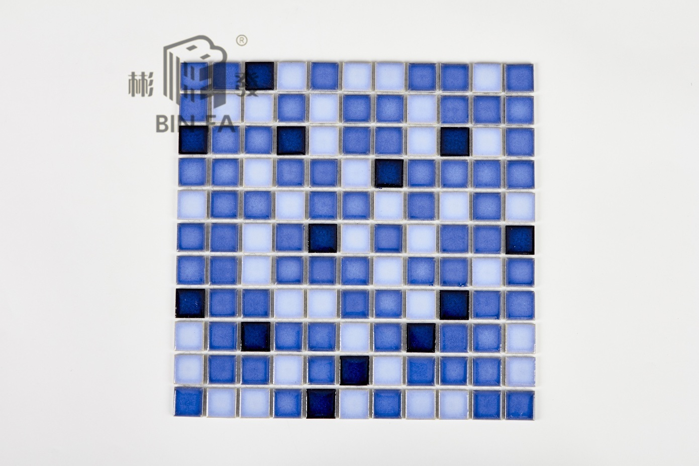 China 25*25mm Special Pattern with Mixed Blue Ceramic Mosaic Tile ...