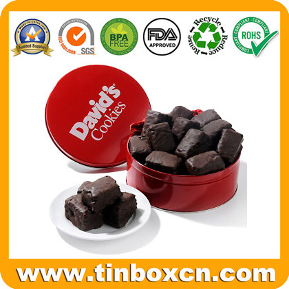 Round Metal Chocolate Can with PVC Window, Chocolate Tin Box