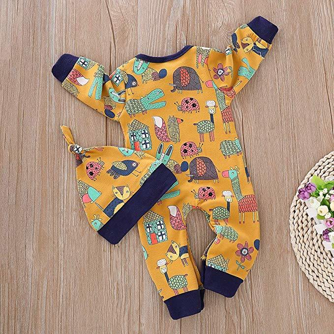 Outfit Sets for Newborn Baby Girls Boys Animal Print Romper Bodysuit Outfits Warm Winter Clothes