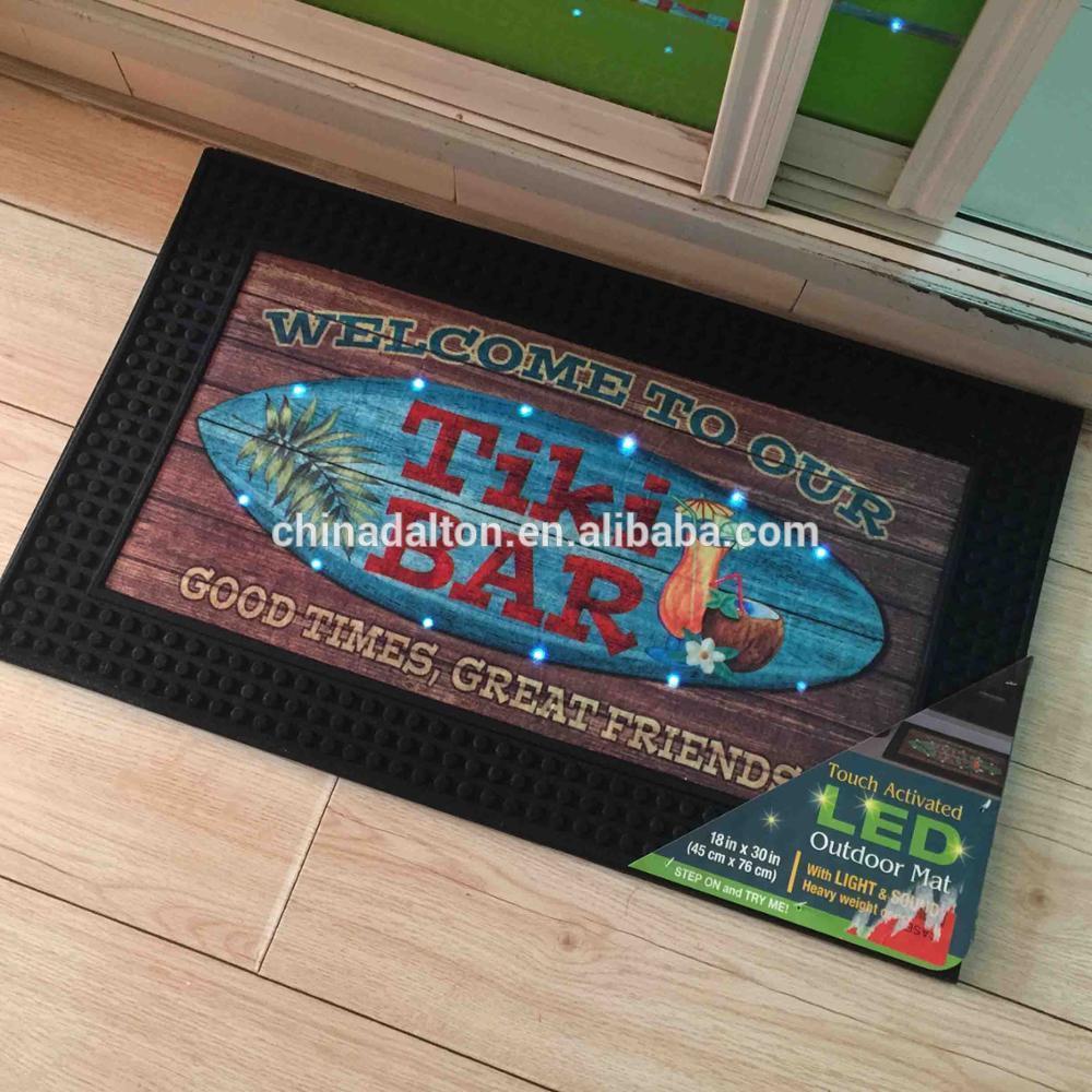 [Hot Item] Rubber Outdoor Welcome Entrance Touch Activated Music Sound  Sensor LED Light up Doormats Door Mats Floor Mats