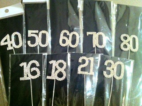 Rhinestone Numbers 1# to 100# on Pick Wedding Cake Topper