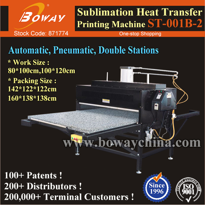 Large Format Pneumatic Auto Flatbed 2 Stations T Shirt Sublimation Heat Transfer Press Printer Printing Machine pictures & photos