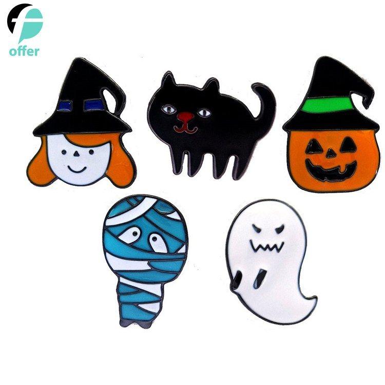 Halloween Pumpkin Cartoon Images.Hot Item Cartoon Halloween Pumpkin Ghost Little Black Cat Rack Dripping Oil Brooch Badge