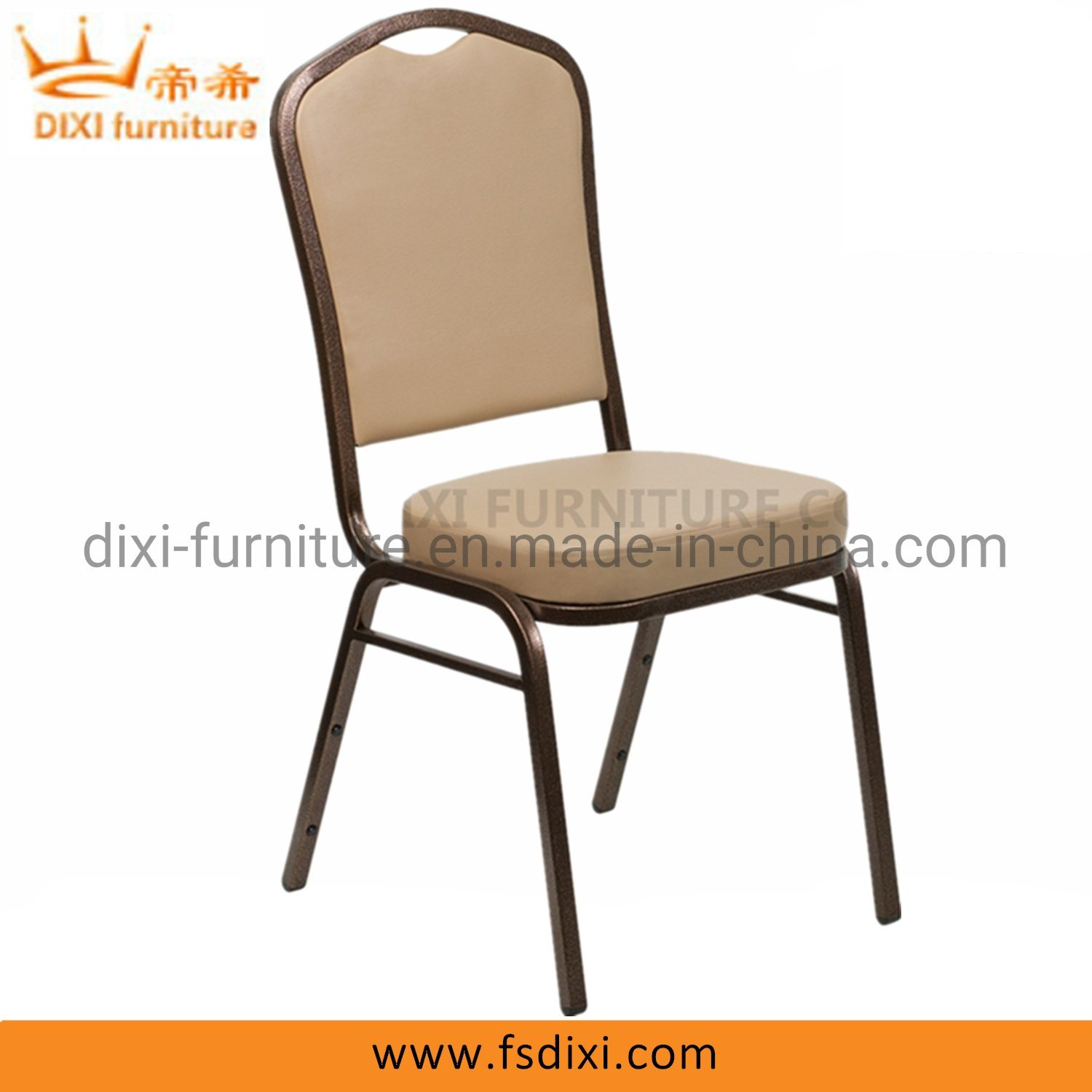 Hot Item Crown Back Stacking Banquet Chair In Tan Vinyl Copper Vein Frame