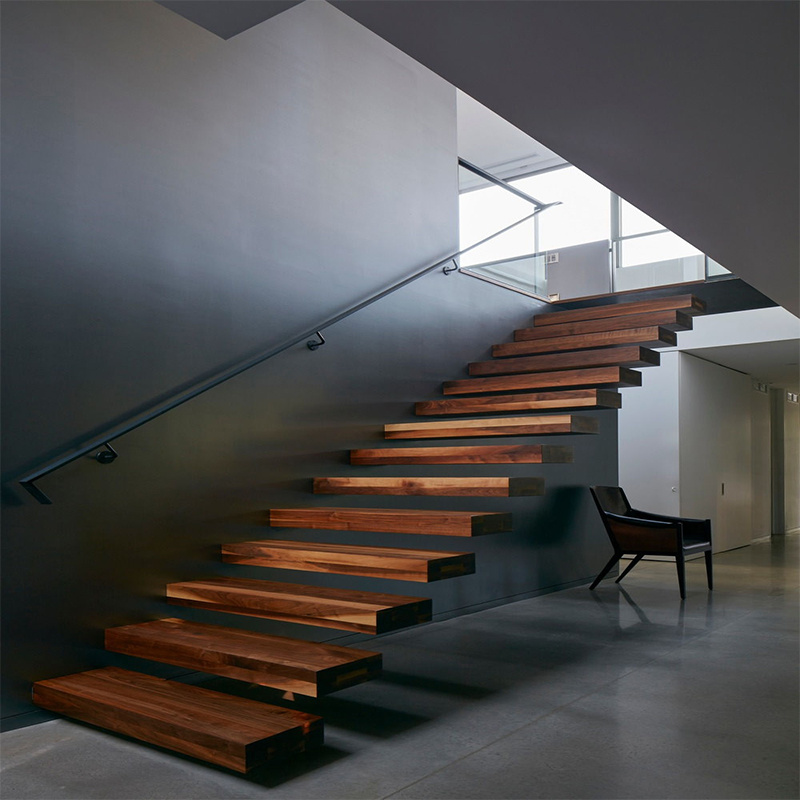 [Hot Item] Wood Treadboard Stair Wrought Stainless Steel Handrail Staircase  Construction Builder Remodeling House Supplier