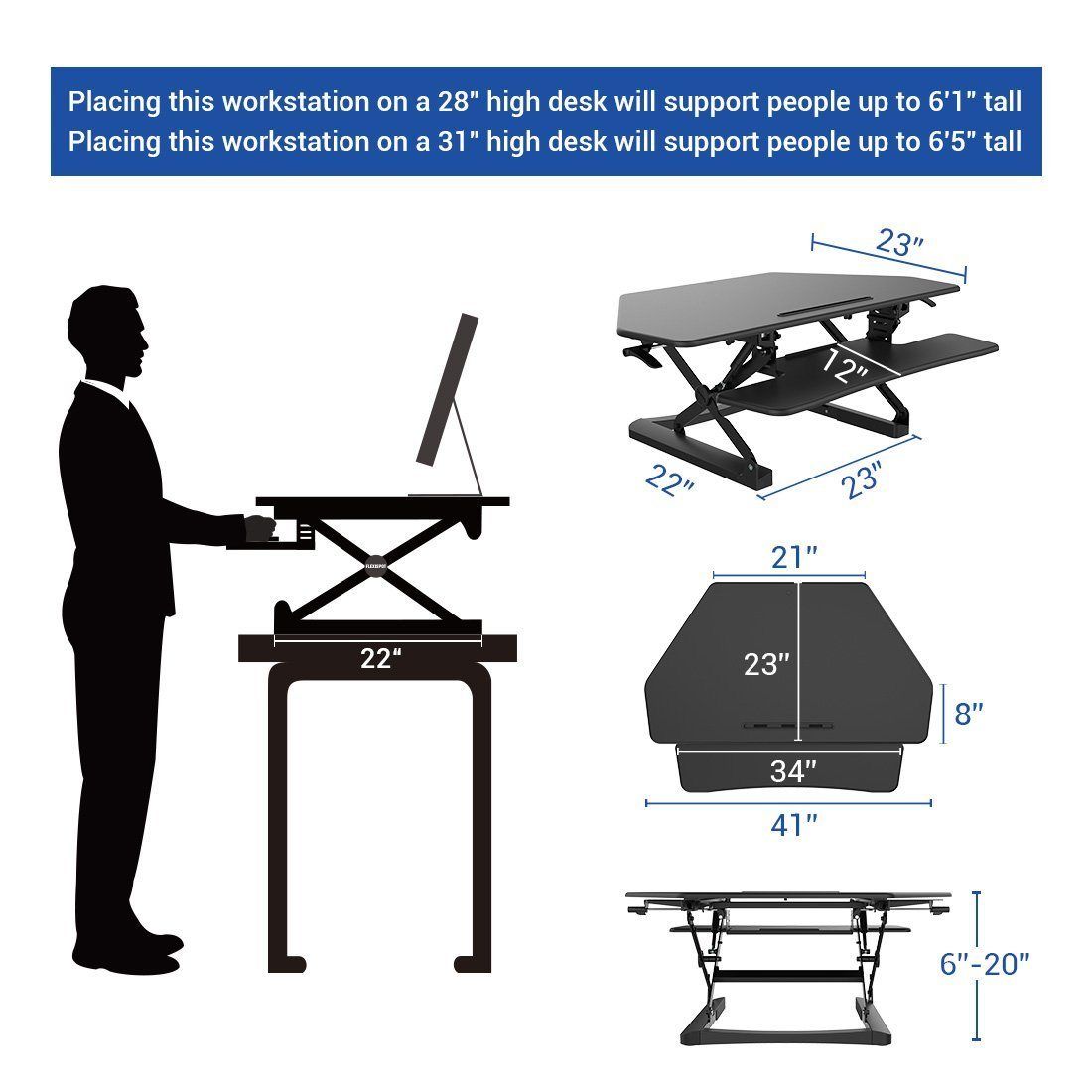 "Loctek 41"" Wide Platform Height Adjustable Standing Desk Riser, Workstation, Sit-Stand Workstation, Black (MT101C) pictures & photos"