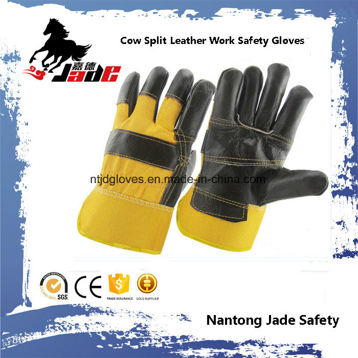Black Furniture Cowhide Split Leather Industrial Safety Work Glove
