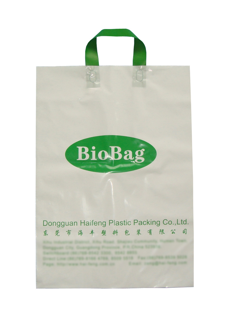 China Biodegradable Bag Hf 301 Lopp Handle Eco Friendly Ping Bags