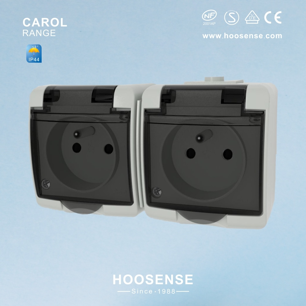 China Ip44 Outdoor Electrical Double French Socket With Screw
